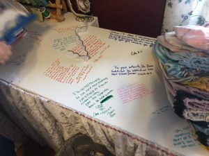 Emma Pratt's sewing table used for messages too.